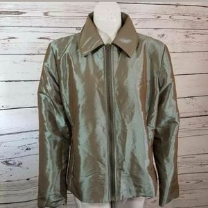 💜 Chicos Jacket Green Metallic Full Zip Size 1